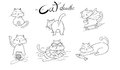 Cute hand drawn cats. doodle Animals vector illustration