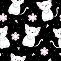 Cute hand drawn cats seamless pattern background