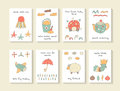 Cute hand drawn doodle baby shower cards