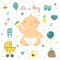 Cute hand drawn doodle baby shower cover Royalty Free Stock Photo