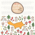 Cute hand drawn doodle card, brochure, cover with orange fox, trees, flowers Royalty Free Stock Photo