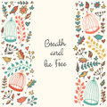 Cute hand drawn doodle card, frame, brochure, postcard with birds, cages, flowers Royalty Free Stock Photo