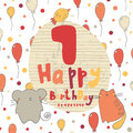 Cute hand drawn doodle happy birthday card Royalty Free Stock Photo