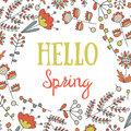 Cute hand drawn doodle hello spring postcard.