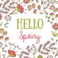Cute hand drawn doodle hello spring postcard.