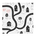 Cute hand drawn doodle illustration with houses, trees, path, road, grass, park, nature elements.