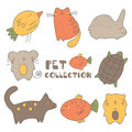 Cute hand drawn doodle pets collection Royalty Free Stock Photo