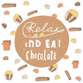 Cute hand drawn doodle postcard with chocolate banner relax and eat card cover positive motivating background Royalty Free Stock Photos