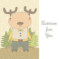 Cute hand drawn doodle postcard with deer Royalty Free Stock Photo