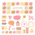 Cute hand drawn doodle signs, objects, banners, design elements
