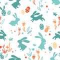 Cute hand drawn easter bunnies seamless pattern, easter doodle background, great for textiles, banners, wallpapers, wrapping -