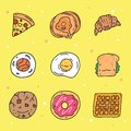 Cute Hand Drawn Food with Adorable Faces Collection