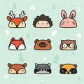 Cute Hand Drawn Forest Animal Faces Collection