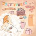 Cute hand drawn graphic set with pregnant woman and baby shower elements Stock Image