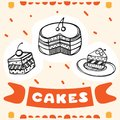 Cute hand drawn poster for cafe with sketch style cakes. Cartoon illustration.