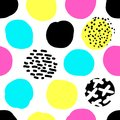 Cute hand drawn retro seamless repeating pattern with abstract shapes brush strokes in 80s and 90s style