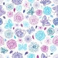 Cute hand drawn seamless garden floral pattern background.