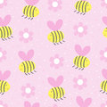 Cute hand drawn seamless pattern with Bees and flowers