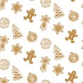 Cute Hand drawn seamless pattern with cookie. Gingerbread on white background repeating wallpaper.