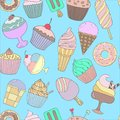 Cute hand drawn seamless pattern with different types of ice cream. Doodle texture with sweet desserts.