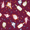 Cute hand drawn seamless pattern with different types of ice cream. Doodle texture with sweet desserts. Perfect