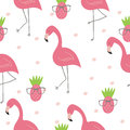 Cute hand drawn seamless pattern with pink flamingo. Vector print Royalty Free Stock Photo