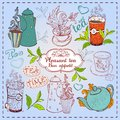Cute hand drawn teapots cups and cupcakes leavs of tea Stock Image