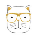 Cute Handdrawn Cat Vector Illustration