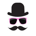 Cute Handdrawn Glasses, Hat and a Mustache Vector Royalty Free Stock Photo