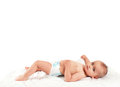 Cute happy baby boy in diaper Royalty Free Stock Photo