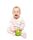 Cute happy baby fruit green apple isolated white background Stock Image