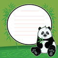 Cute happy baby panda eat bamboo vector stock of with text space Royalty Free Stock Photos