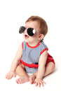 Cute happy baby sunglasses isolated white background Stock Photos