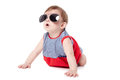 Cute happy baby sunglasses isolated white background Stock Photography