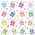 Cute happy birthday background pattern with gifts hearts candles and flowers on white polka dot Royalty Free Stock Photography