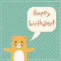 Cute happy birthday card with fun cat bear for kids Royalty Free Stock Image