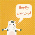 Cute happy birthday card with fun cow bear for kids Stock Photos