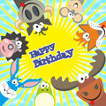 Cute happy birthday card with funny animals. Elk, cow, hedgehog, Royalty Free Stock Photo