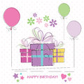Cute happy birthday card with presents flowers and balloons on white polka dot background Stock Image