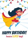 Cute Happy Birthday greeting card with girl