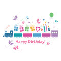 Cute happy birthday train card colorful baring gifts candles flowers hearts and butterflies Royalty Free Stock Photo