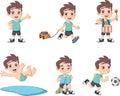 Cute happy cartoon boy playing.