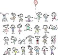 Cute happy cartoon kids,vector
