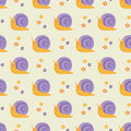 Cute happy cartoon snails seamless pattern Royalty Free Stock Photo