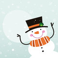 Cute happy cartoon snowman winter on snowing background vector illustration Stock Image