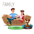 Cute happy family and dog sitting on sofa isolated on white background.