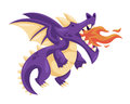Cute Happy Flying Baby Dragon Illustration
