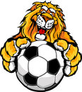 Cute Happy Lion Mascot with Soccer Ball Royalty Free Stock Image