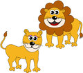 Cute happy lioness lion cartoon illustration featuring two lions male and female one isolated on white background eps file Stock Photos