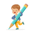 Cute happy little boy holding giant light blue pencil cartoon vector Illustration Royalty Free Stock Photo